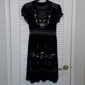 Lucky Brand Floral Embroidered Peasant Dress L/XL